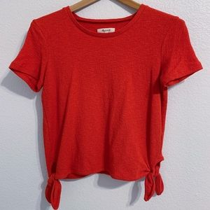 MADEWELL Side Tie Top in Red